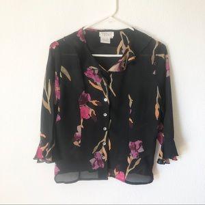TESS black floral silk blouse small.